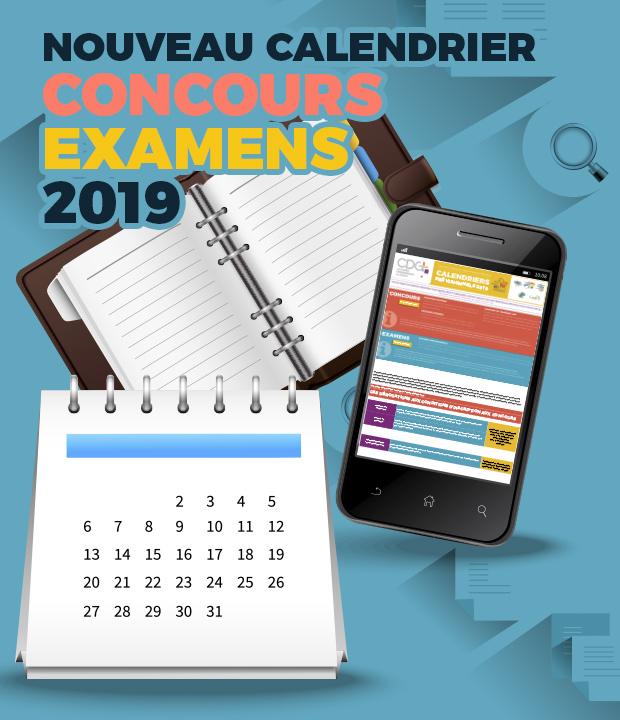 Calendrier 2019 des concours et examens